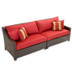 RST Brands Deco Patio Sofa With Cantina Red Cushions
