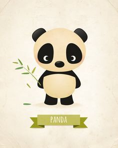 This little panda nursery print would look adorable in any kids room or for any…
