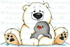 A Hug for Ike - Penguins - Animals - Rubber Stamps - Shop
