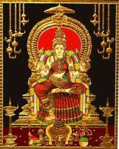 Devi Bhuvaneswari tanjore painting made from gold. Beautiful collection of thanjavur art in different designs at best prices are available to decorate your home. Mysore Painting, Tanjore Painting, Mural Painting, Mural Art, Murals, Saraswati Goddess, Durga Maa, Shiva Shakti, Wonder Art