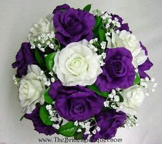 ...a round bouquet of flowers in purple and white
