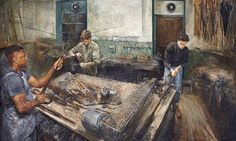 Lewis Hazelwood-Horner's Salt in Tea.  The painting of 'real people with knotty hands' at James Smith & Sons wins Columbia Threadneedle prize.