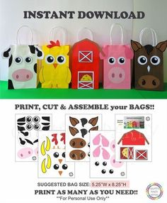 Barnyard Party Favor bags/ Farm Animals Party Favor Bags/ Farm Animals Birthday Party Ideas/ Barn/ Barnyard Animals Party ideas/ Party decoration/ Cowboy/ Cowgirl Party Ideas/ little blue truck Birthday Party/ Party Supplies/ pig/ piggie/ horse/ cow/ chic Party Animals, Farm Animal Party, Farm Animal Birthday, Barnyard Animals, Farm Animal Cupcakes, Farm Birthday Cakes, 1st Birthday Parties, Birthday Party Decorations, Cake Birthday