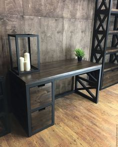 Beautiful wood and metal desk Welded Furniture, Iron Furniture, Steel Furniture, Industrial Furniture, Furniture Design, Wood Steel, Wood And Metal Desk, Wood Projects, Interior Design