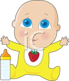 Royalty Free Clipart Image of a Baby With Big Blue Eyes