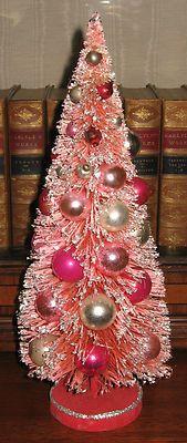 "Vintage 14 1 4"" Tall Holt Howard Retro Pink Bottle Brush Mercury Christmas Tree | eBay"