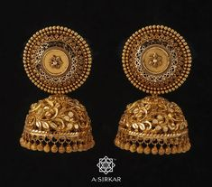 Jewelry OFF! Gold Techniques And Strategies For Beautiful Gold Jewelry Gold Jhumka Earrings, Jewelry Design Earrings, Gold Earrings Designs, Jewelry Shop, Fashion Jewelry, Jewelry Making, Gold Temple Jewellery, Fancy Jewellery, Gold Bangles Design