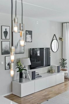 One of the comfortable and attractive living room styles is a Scandinavian living room. Scandinavian living room layouts have several versions. One of them is the Scandinavian living room minimalist. Dark Living Rooms, Home And Living, Small Living, Dark Rooms, Ikea Living Room, Cozy Living, Tv On Wall Ideas Living Room, Living Place, Living Room Decor Frames