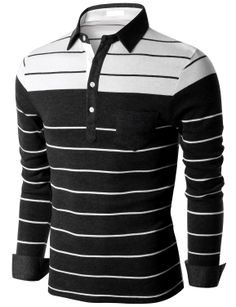 Doublju Men's Blocking Stripe Jersey Polo T-shirt (KMTTL0143) #doublju