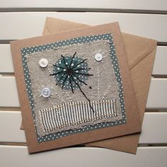 Handmade - Hand Sewn Fabric Blank Card - Botanical Flower – Birthday / Thank You / Get Well Fabric Cards, Fabric Postcards, Flower Collage, Sewing Cards, Fabric Pictures, Handmade Birthday Cards, Handmade Cards, Christmas Embroidery, Get Well Cards