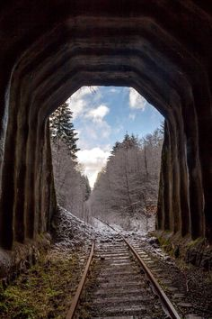 Tunnel portal on abandoned railroad line is a lovely photo and i like the way there is two set s of lines used in the tunnel and the train tracks. Abandoned Train, Abandoned Mansions, Abandoned Buildings, Abandoned Places, Abandoned Castles, Train Tunnel, Train Pictures, Old Trains, Destinations