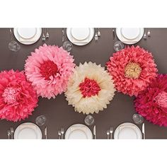 Martha stewart tissue paper pom pom kit makes 5 flowers girls heres to make a tri color paper flower with three colors of tissue paper its easy mightylinksfo