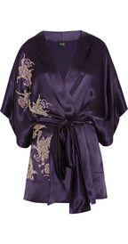 Carine GilsonThéme Tamara lace-appliquéd silk-satin kimono