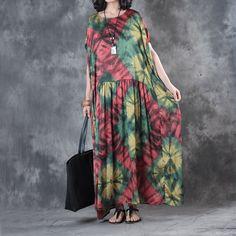 Retro Style Colorful Prints Plus Size Maxi Dress Elegant Summer Silk Dress    #plussize #maxi #dress #silk #prints #vintage #retro #summer #designer #elegant #fashion