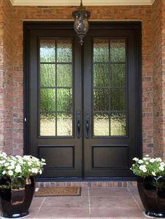 69 Ideas For Glass Front Door Entryway Wrought Iron Double Front Entry Doors, Iron Front Door, Front Door Entrance, Door Entryway, Glass Front Door, Iron Doors, House Entrance, Black Front Doors, Farmhouse Front Doors