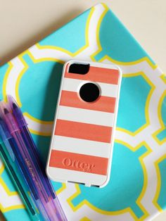 Coral Stripes Otterbox iPhone 5 Case by AModernStyle on Etsy, $55.00
