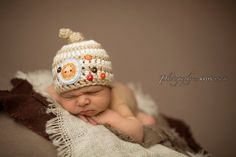 Newborn Knot On Top  Striped BeanieLion by whimsylaneboutique, $26.00