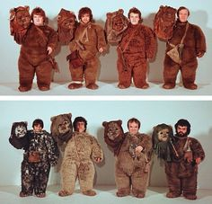 A look at the actors underneath the Ewok masks for RETURN OF THE JEDI, circa 1982 - Imgur