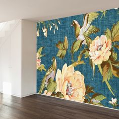 Closeup of retro tapestry fabric pattern with classical image of the colorful flowers and birds on blue background.Kuntsman, via Shut. Wall Mural Decals, Removable Wall Murals, Wall Art, Tapestry Fabric, Fabric Shower Curtains, Wall Wallpaper, Colorful Flowers, Textured Background, Wall Design