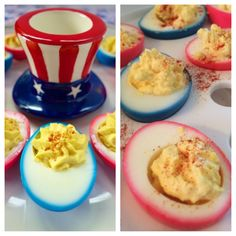 """Left: """"pin""""spiration - Right: mine Red, White, and Blue Deviled Eggs (Original pin: 4th of July) July 4, 2014"""