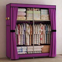 Wood Amp Tin Metal Portable Closet Wardrobe Armoire Cabinet