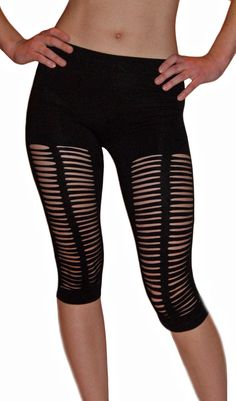 Sliced Knee Length Stretch Leggings. Perfect for roller derby or a parent teacher meeting. ;)