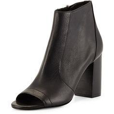 Vince Fionn Open-Toe Leather Bootie (€205) ❤ liked on Polyvore featuring shoes, boots, ankle booties, april hammerstein, black, black ankle boots, high heel booties, black high heel booties, black leather ankle booties and leather booties