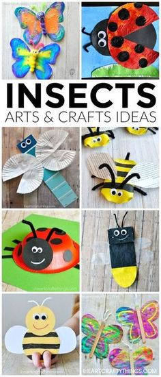 Here are over 25 amazing insects arts and crafts ideas kids of all ages will enjoy. Looking for fun spring kid craft ideas? Check out these creative butterfly crafts, bee crafts, ladybug crafts, dragonfly crafts and lightning bug crafts. by myrna Toddler Crafts, Preschool Crafts, Kids Crafts, Easy Crafts, Kids Diy, Decor Crafts, Insect Crafts, Insect Art, Ladybug Crafts