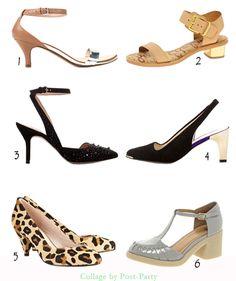 1-Zara (29,95€)  2-Sam Edelman en Asos (142,54€)  3-Zara (45,95€)  4-Zara (59,95€)  5-TopShop (64,75€)  6-Asos (60€)  Modelos con tacón bajo, para aquellos pies que no resisten las alturas, pensando en la salud de muchas mujeres. Los tacones altos, estilizan la figura, pero los bajos, pueden dar muy buen resultado, si sabes combinarlos con tus mejores prendas.