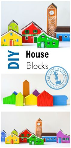 Make a set of DIY house wooden blocks for kids. It's a great addition to railroads, cars and other imaginary play activities! Wooden Blocks For Kids, Kids Blocks, Baby Blocks, Kids Wood, Diy Projects For Kids, Diy For Kids, Crafts For Kids, Toy House, Wooden Train