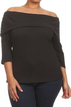 Plus Size Chic Ribbed Off The Shoulder Top Plus Size Chic, Plus Size Women's Tops, Off Shoulder Blouse, Off The Shoulder, Get The Look, Plus Size Outfits, Sleeves, Clothes, Night
