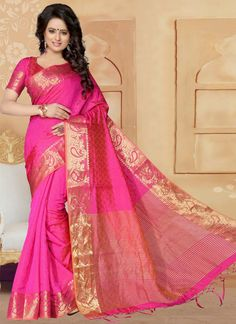 Hot Pink Patch Border Work Banarasi Silk Designer Saree