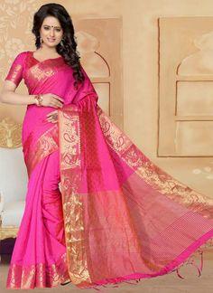 Hot Pink Patch Border Work Banarasi Silk Designer Saree