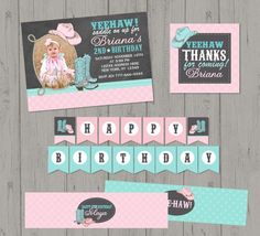Sweet Cowgirl Birthday Party Pack with by BriezeesBoutique on Etsy, $19.99