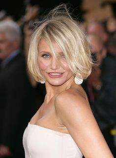 Cameron Diaz' messy bob has a carefree, fun look that's very hot right now. This effortless look is also really youthful (a big bonus for us over-40 girls!)More about bobs:Jennifer Aniston's BobMessy Bobs for Over 40Bob Hairstyles Over 40