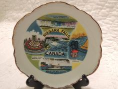 Niagara Falls Souvenir Plate Trimmed in by PurveyorsOfFineJunk