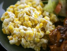 Cream Corn - I would modify this (no onion and prob no pepper), but it does sound good!