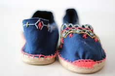 great way to spruce up a pair of toms or old espadrilles #stitch #embroidery
