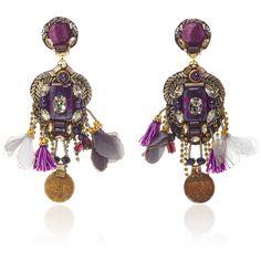Ranjana Khan Brass Amethyst Earrings (€350) ❤ liked on Polyvore featuring jewelry, earrings, brass jewelry, brass earrings, ranjana khan jewelry, amethyst jewelry and amethyst earrings