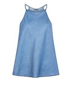 Blue Denim Plaited High Neck Cami  | New Look