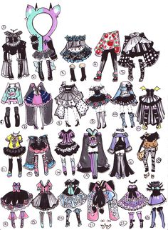 DeviantArt: More Collections Like CLOSED-Adoptable outfits by Guppie-Adopts Chibi, Clothing Sketches, Fashion Sketches, Cute Drawings, Drawing Sketches, Fantasias Halloween, Drawing Clothes, Anime Outfits, Character Drawing