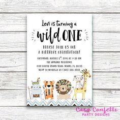 Wild One Tribal Safari Animal First 1st Birthday Invitation, Jungle Invitation, Baby Boy Blue Hipster Birthday, Printed or Printable Invite