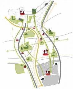 белая подложка +инфографика Masterplan for Mönchengladbach / Grimshaw Architects