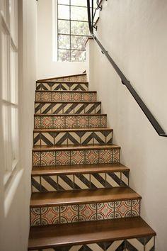 Tiled chevron stairs idea for basement someday?