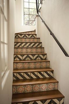 Tiled chevron stairs idea for basement someday?