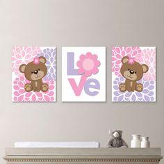 Bebé niña vivero arte - chica vivero Decor - chica vivero grabado - bebé oso vivero - arte - del oso osito grabado - rosa (NS-651) Usted recibirá todas las tres impresiones del tamaño que usted seleccione. Cada uno medirá el tamaño seleccionado. Por favor, seleccione cualquiera de