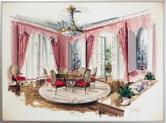 Angelo Donghia/Yale Burge: Dining Room Interior Watercolor on paper, signed Jeremiah (Goodman) lower right.