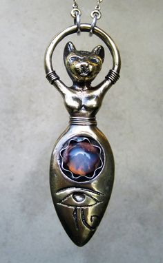Bast with Fire Opal and Eye of Horus Cat by SilviasCreations, $155.00
