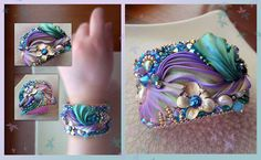 Shibori silk ribbon as part of a bead embroidery cuff. Very mermaid-ish.