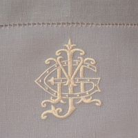 Cream monogram on grey | Monogrammed Pillows | Towels | Home Décor | Dinnerware | China